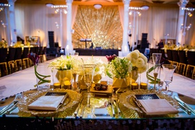 vibiana wedding reception black and gold art deco, glass-topped sweetheart table