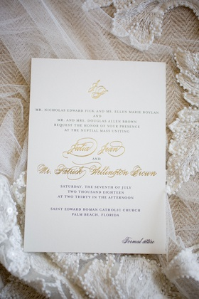 classic formal wedding invitation with gold foil flourish names & monogram, formal attire