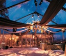 Wedding reception with a floral chandelier