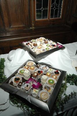 Wedding reception dessert table with small treats