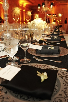 Black and white wedding reception table decorations