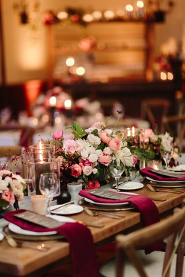 fall wedding inspiration, velvet burgundy napkins, peach white and pink flowers
