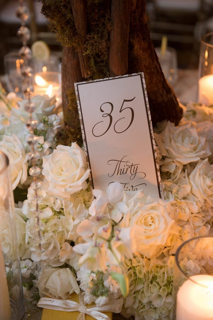 Table number card in front of tree trunk with brown stationery