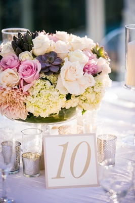Low centerpiece in clear footed vase with pink rose, pink dahlia, hydrangea flowers and succulent