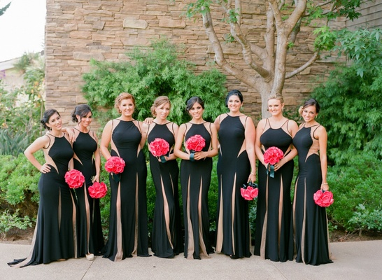 Black bridesmaid dresses with slits and cut out details
