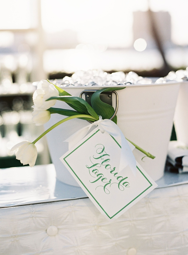 Reception Décor Photos - Sign Tied to Tulips on Ice Bucket - Inside ...