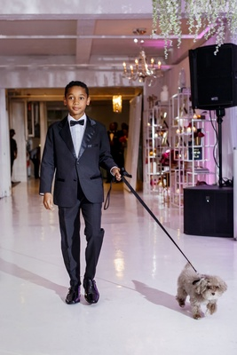 Wedding reception dog friendly grey dog with black leash walked by young man tuxedo