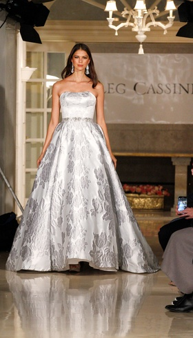 Oleg Cassini Fall 2018 bridal collection silk statement gown with sash butterflies and chapel train