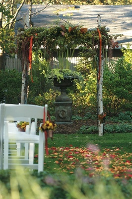 Birch tree wedding arch with green leaves and fall foliage