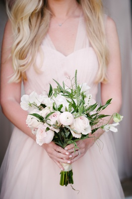 pink, white, and green bridesmaids bouquet, bridesmaids nosegay