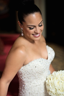 Bride with smokey eyeshadow and sock bun