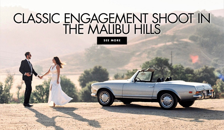 Classic engagement shoot in the malibu hills vintage car convertible mustang