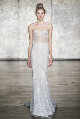 Inbal Dror Fall 2018 Jewel VIP strapless sequined mermaid gown