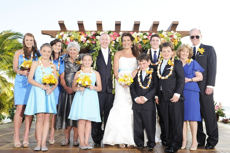 Wedding party and family at outdoor wedding