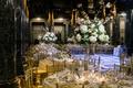 gold reception space florals greenery classic catholic carnegie museum hall roman italian
