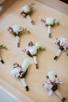 wedding boutonniere japanese hawaiian influence blush ribbon leaf greenery hawaii wedding