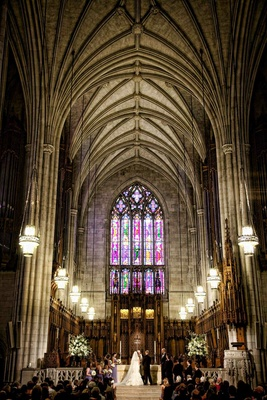 Duke University Chapel Wedding With Stained Glass Window