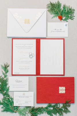 wedding invitation suite for winter wedding red booklet invite white gold details on invitation suit