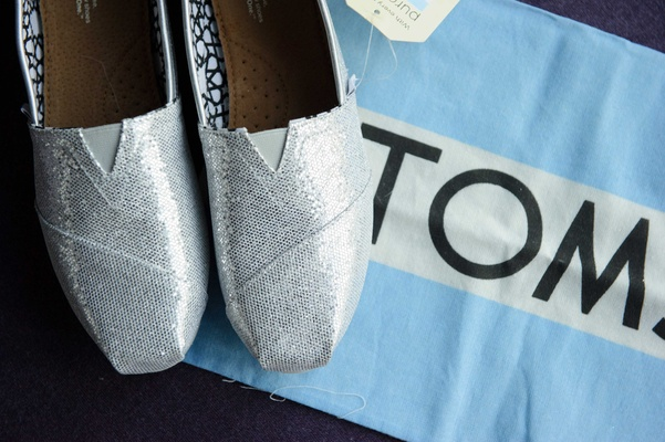 silver toms for wedding shoes in blue box
