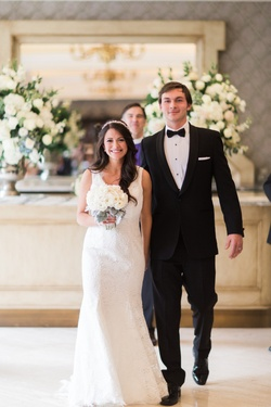 We love the simple silhouette of this lace gown on DFW Events bride Whitney!