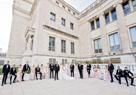 wedding party bridesmaids in light purple dresses groomsmen in tuxedos chicago landmark venue