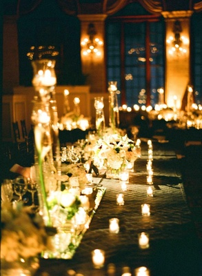 Long rectangular table with candle centerpieces