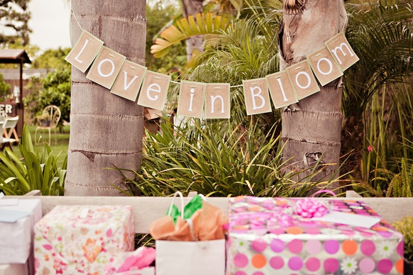 Bridal shower burlap sign over gifts