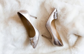 manolo blahnik wedding shoes silver with crystal buckle