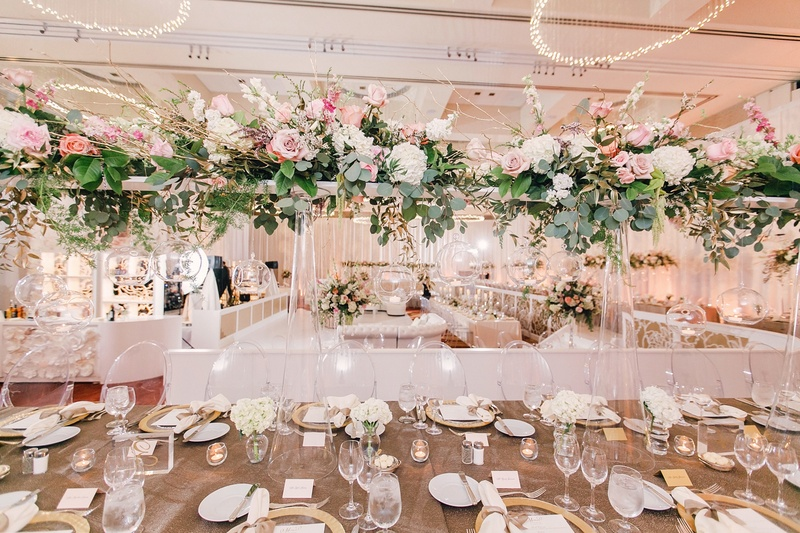 Reception Dcor Photos Green Pink And Ivory Tall Centerpiece