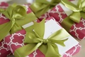 Pink and white wrapping paper with green ribbon