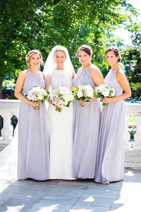 Jasmine bridesmaid dresses floor length bridesmaid bride white lavender purple bouquets