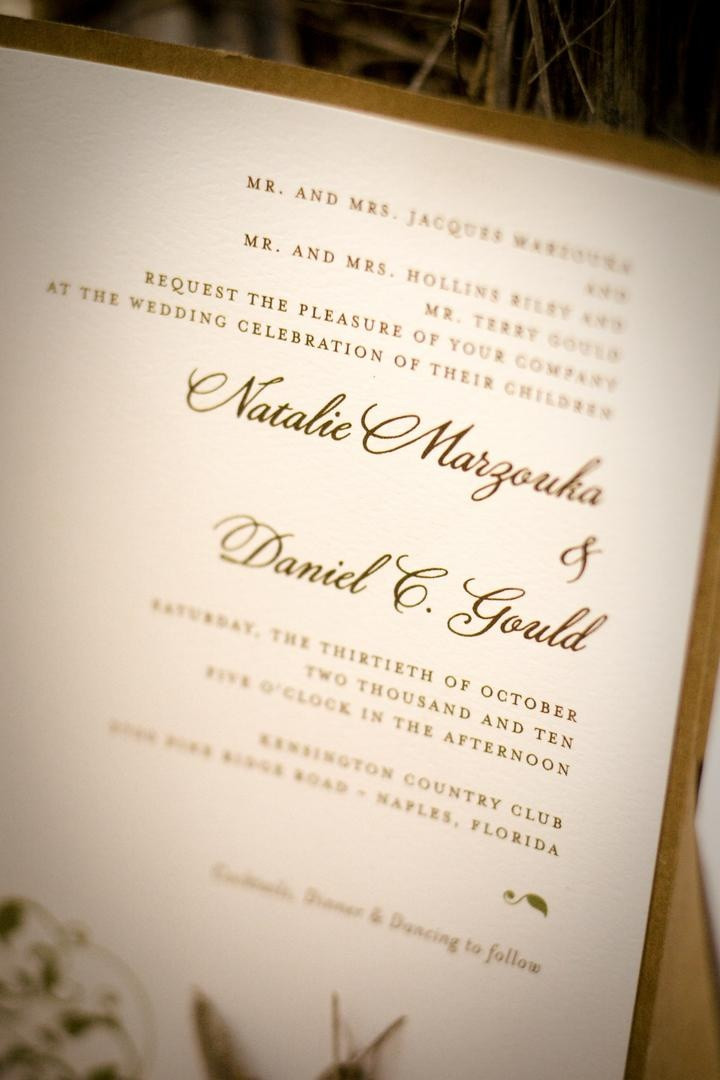 Wedding invitation close up with brown ink