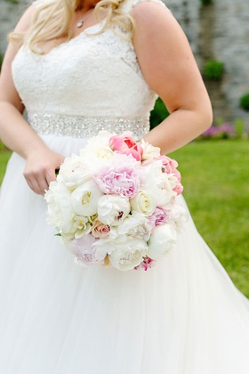 wedding bouquet pink and white rose and peony flowers wedding dress jewel sash belt