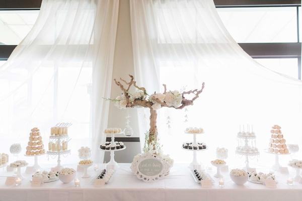 White theme dessert table at wedding reception tan branch shabby chic style all cream desserts