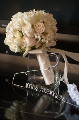 White rose and stephanotis bouquet with custom hanger