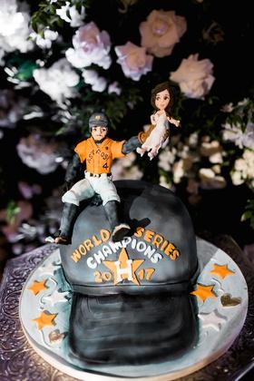 George Springer III wedding cake groom's cake uniform houston astros baseball hat bride catch