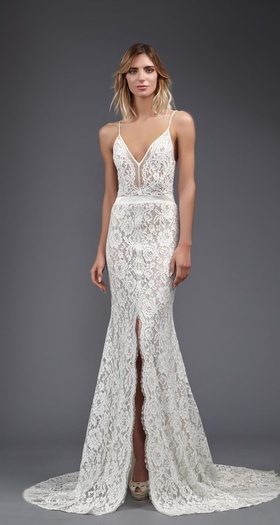 Victoria Kyriakides Spring 2017 v neck lace wedding dress thin straps slit in front of skirt