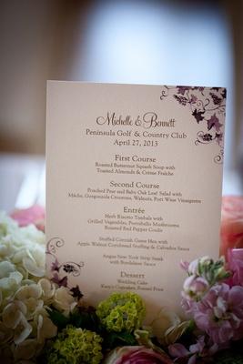 Wedding reception menu with purple grapevines