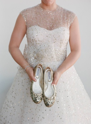 Jimmy Choo Ballet Flats With Gold Glitter And Bow