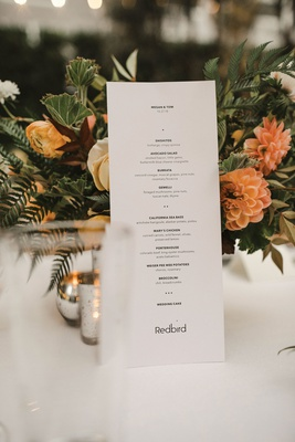 wedding reception menu card simple black white small font bold and thin type orange flowers