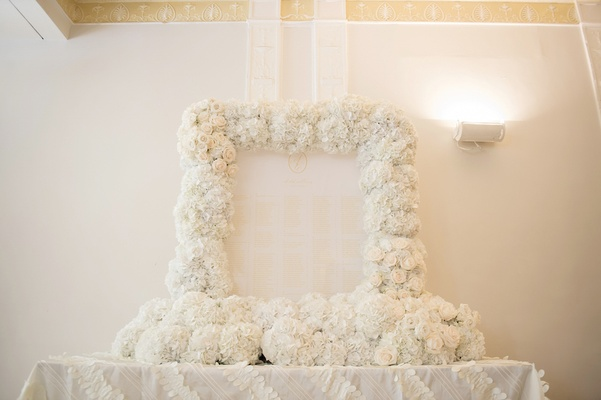 Rose and hydrangea flower frame around wedding seating chart