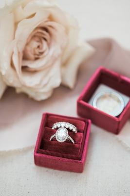 oval diamond halo engagement ring, eternity wedding band of halo diamond