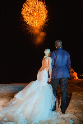 Barbie Blank and Sheldon Souray wedding reception on the sand surprise firework show at night