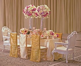 Wedding reception styled shoot table at Langham Chicago