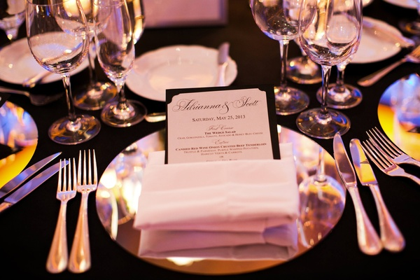 Adrianna Costa wedding reception place setting