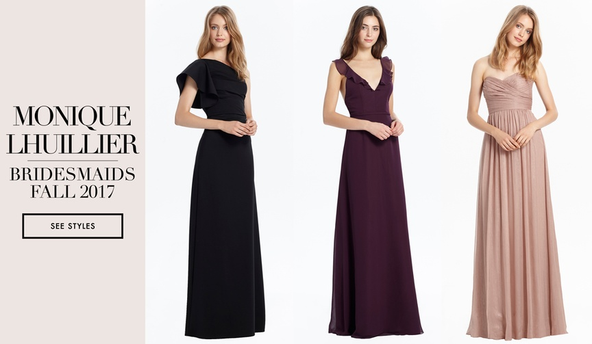 Monique Lhuillier Bridesmaids fall 2017 collection long elegant gowns black blush burgundy pink grey