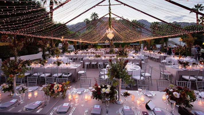 ... Outdoor Wedding Reception Palm Springs Area La Quinta String Twinkle  Fairy Lights In Tent Chandelier ...