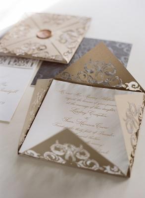 metallic gold and silver lasercut wedding invite