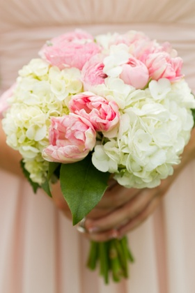 Pink and white peony and hydrangea wedding bouquet