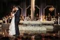 bride in oscar de la renta, groom in j. hilburn first dance live band ivory floral displays